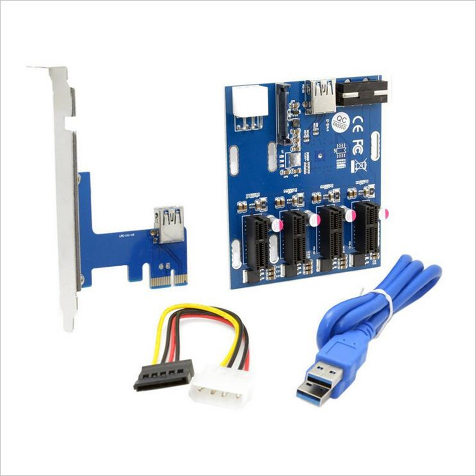 PCI-E 1X Expansion Kit 1 To 4 Slots Switch Multiplier Hub PCI-E Riser Card Adapter With USB 3.0 Cable Pcie Mining Modules