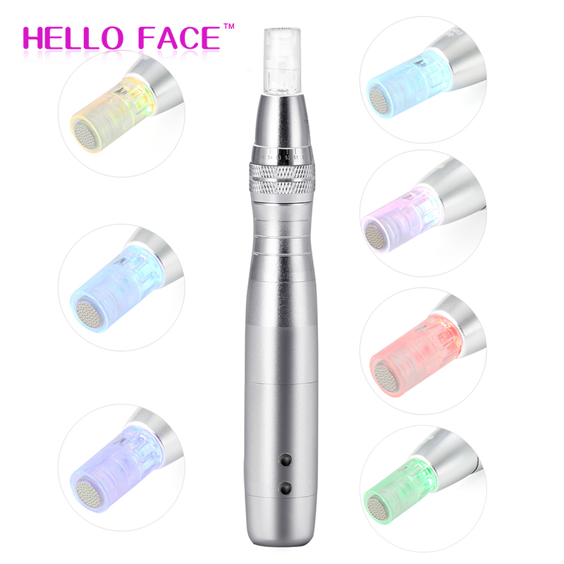 HELLO FACE Electric Derma Pen 7 Colors Lights LED Photon Pen With 12 Pin Adjustable Nano Micro Needle Face Care Tool
