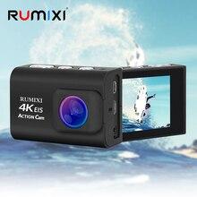 EIS 기능을 갖춘 풀 HD 4K 스포츠 액션 카메라 내장형 WiFi 방수 30M (리모컨 포함) 외부 마이크 비디오 카메라