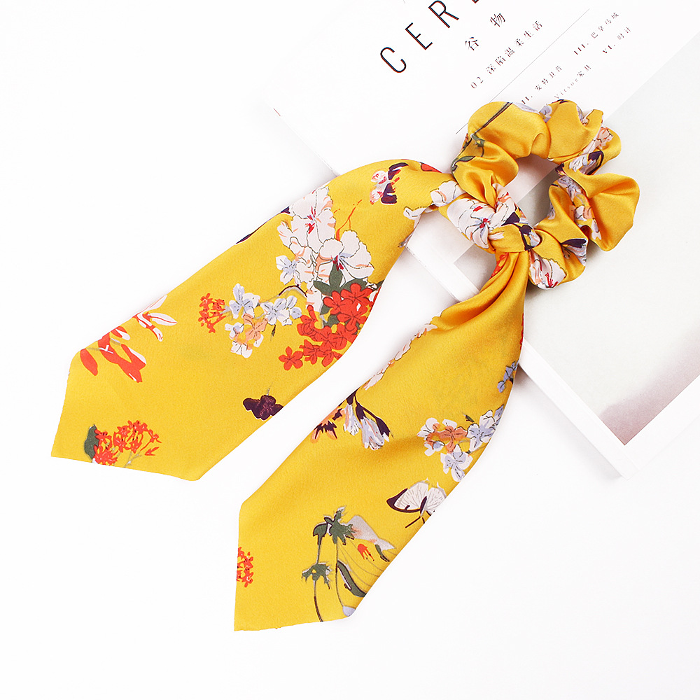 Hc9eaeffff67a414da9e13deb1801b6c7E - Fashion Silk Satin Summer Ponytail Scarf Stripe Flower Print Ribbon Hairbands Hair Scrunchies Vintage Girls Hair Accessoires