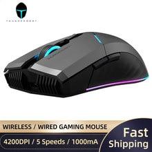 Thunderobot ml701 sem fio gaming mouse 2.4g sem fio com fio rgb backlight gamer 4200 dpi recarregável mouse para computador portátil jogos