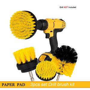 Only $6.99 High Quality 3 pcs Set Electric Scrubber Brush Drill Brush Kit Plastic Round Cleaning Brush For Carpet Glass