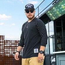 Осень мужской, большого размера с длинным рукавом хлопковая Футболка Homme Повседневное толстяк свободные в Вертикальную Полоску большой Размеры Для мужчин одежда XL-6XL