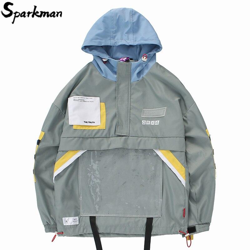 Chaqueta con capucha Hip Hop Streetwear 2019 primavera para hombre chaqueta Harajuku rompevientos hebilla de bolsillo Multi chaqueta de pista-in Chaquetas from Ropa de hombre    1