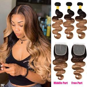 Ombre Body Wave Bundles With Closure Ombre Human Hair 3 4 Bundles With Closure Remy Brazilian Hair Weave Bundles With Closure(China)