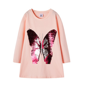 2-6years Autumn Girl Dress Cotton Long Sleeve Children Dress Butterfly Sequins Kids Dresses for Girls Fashion Girls Clothing