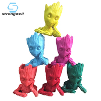 Strongwell 6 Color Baby Groot Doll Flower Pot Container Tree Man Pen Holder Flowerpot Galaxy Marvel Home Decoration Gift 15CM