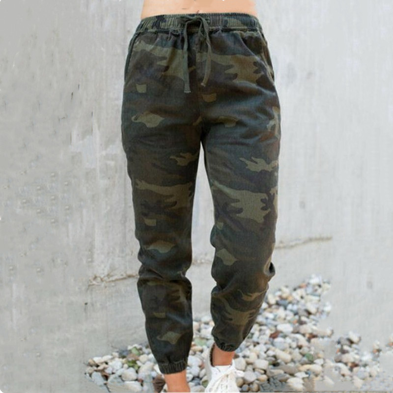 Female's Elastic Long Pants New Camouflage High Waisted Elastic Trousers Fashion Ladies' Military Cargo Pants Autumn Hot Selling
