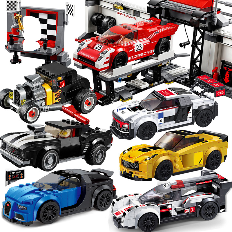 DECOOL City Super Race Car Champion Speed Audi R8 Bugatti Compatible Legos Technic Set Building Blocks Toys For Children 78115