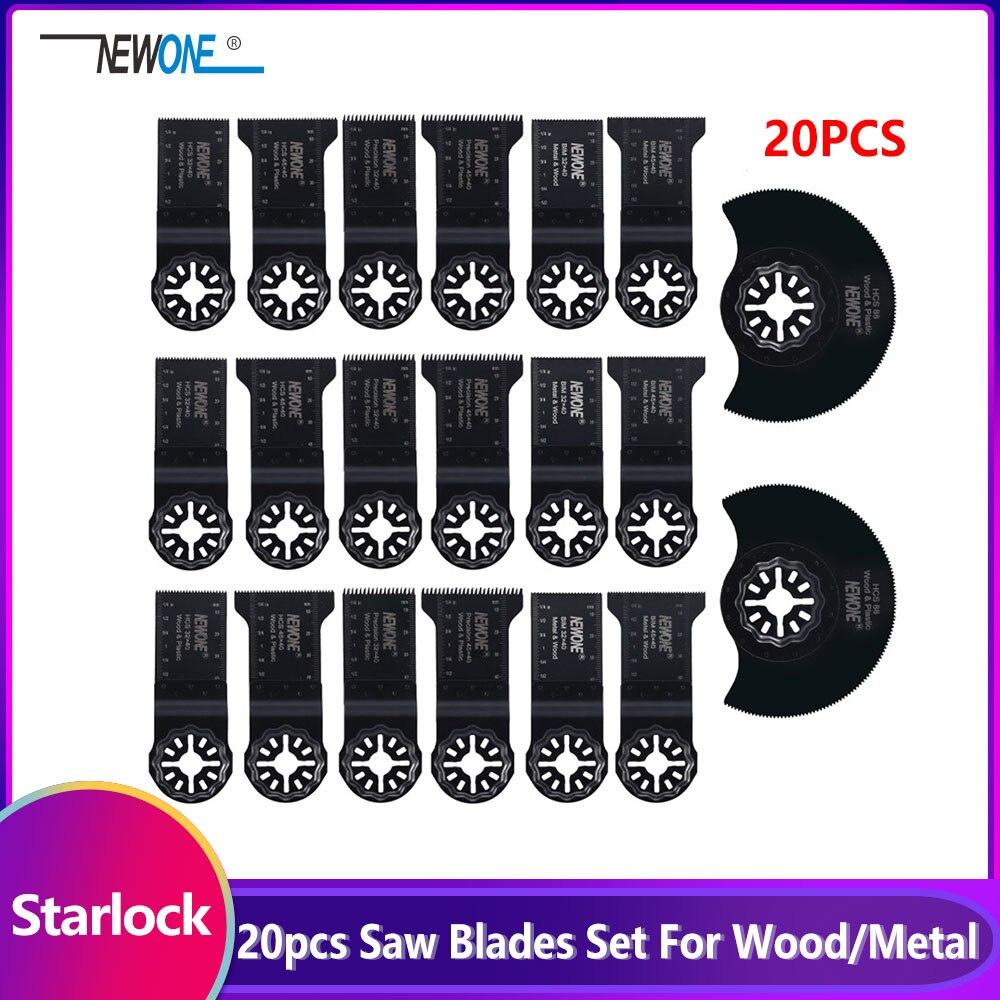 20 Piece Starlock E-cut Multi Cutter Saw Blades Set Oscillating Tool Blades For Cutting Wood Drywall Plastics Metal