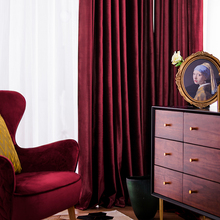 Luxury Nordic Velvet Curtain Red Blackout Curtains for Living Room Bedroom Thickened Velvet French Window Curtains