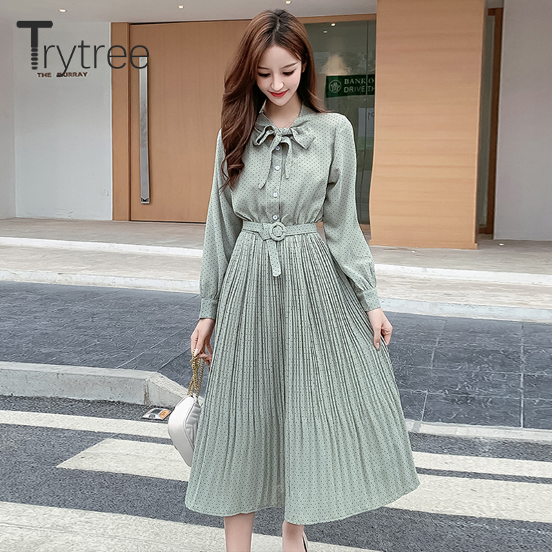 Trytree 2020 Spring Women Dress Casual Bow Single Breasted Belt A-line Dot 3 Color All-Purpose Style Fashion Elegant Dress