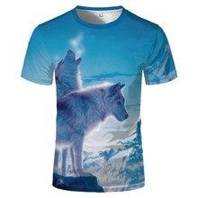 Maglietta 3D o-collo animale maglietta stampata in 3d primavera estate uomo lupo animale poliestere novità 2020