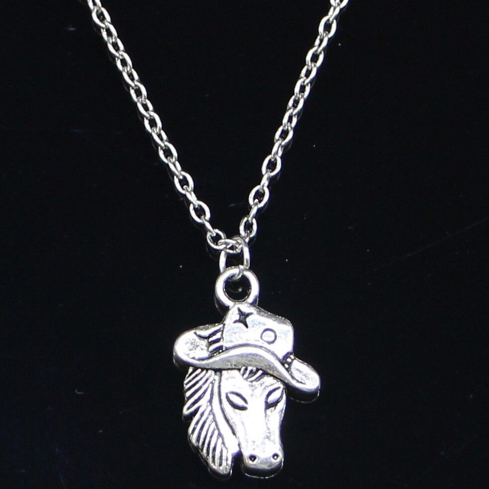 Новое модное ожерелье 23x16 мм лошадь в ковбойском шляпе Подвески Короткие Длинные Женщины Мужчины колар подарок ювелирные изделия Чокер