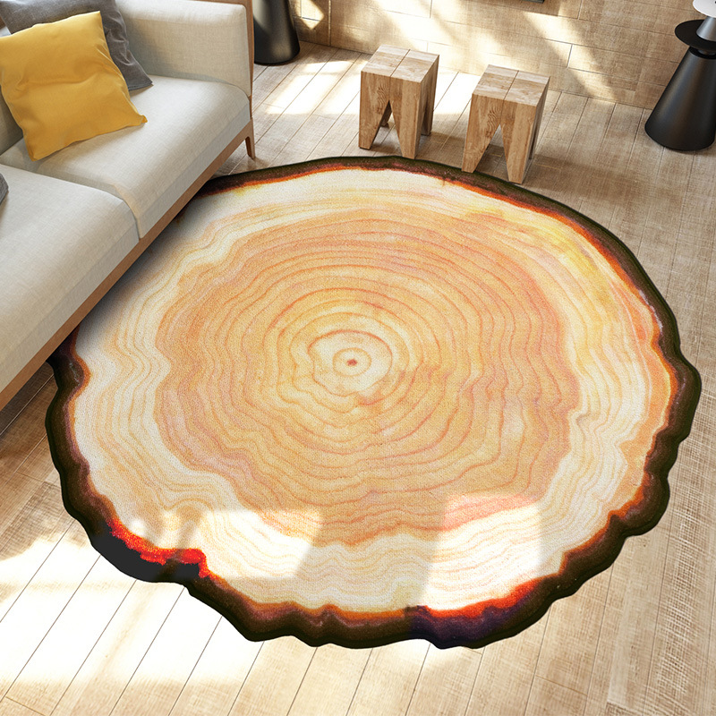 Personnalisé et créatif Antique arbre anneau cercle tapis chambre salon Table couverture ordinateur chaise panier à caboteur chevet Bl