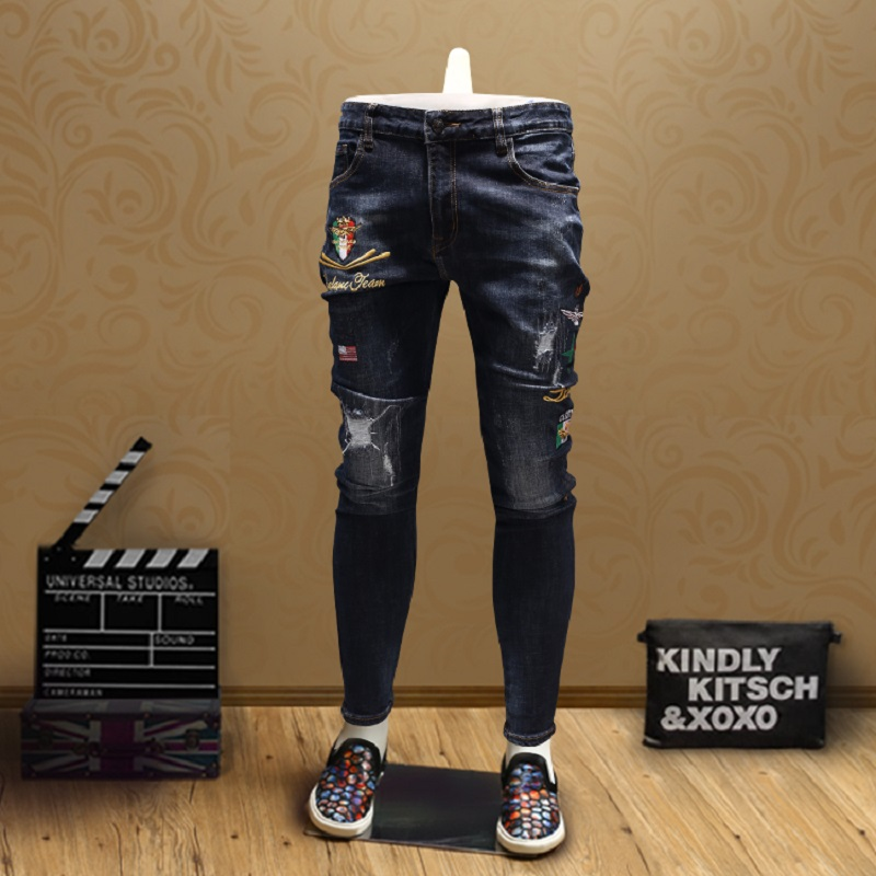 Fashion Badge Skinny Ripped Jeans Men Personality Streetwear Pencil Pants Blue Large Size 28-36