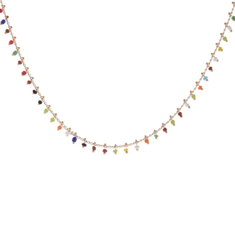 Chain Necklace Women Colorful Crystal Ladies Necklaces Bead Acrylic Tassel Jewellery Gold Color Bohemia Korean Alloy Collares