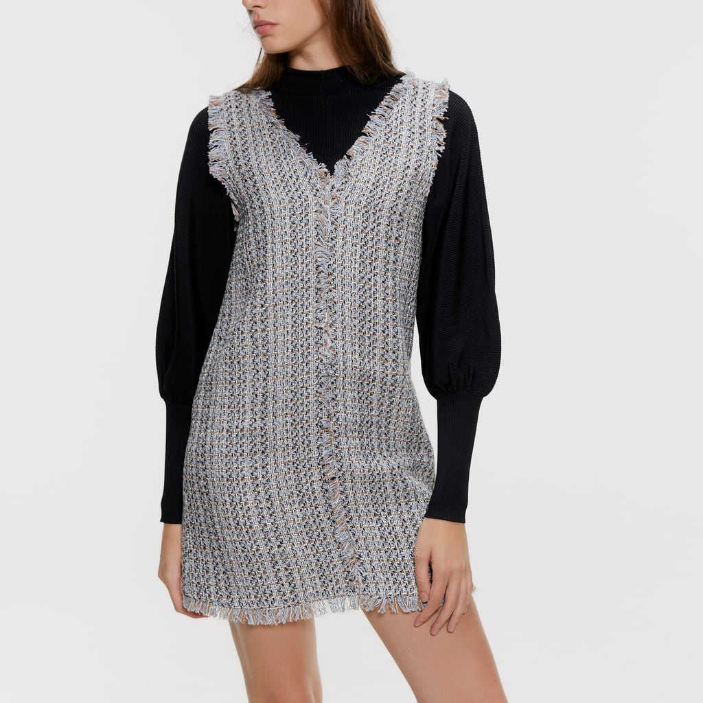 2019 ZA модное клетчатое вязаное платье в английском стиле Woemn осеннее модное повседневное теплое платье с v-образным вырезом Женская Осенняя одежда