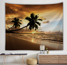 Tapestry Wall Hanging Room Bohemian Beach coconut trees landscape Pattern Tapestries Art Home Decoration Bedroom Background waterproof snows and trees pattern christmas wall hanging tapestry page 3