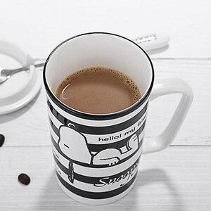 Image 4 - سنوبي 400 مللي كوب سيراميك مخطط المنزلية السيراميك القدح الكرتون نمط مكتب كوب مع ملعقة فنجان قهوة الخزف القدح لطيف هدية