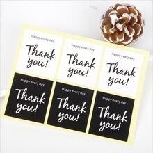 60 шт/лот квадратные черно белые наклейки благодарим Вас за