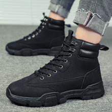 Fashion Hiking Sneakers Male Snow Ankle Winter Lace-up Boots Shoes tooling shoes Mens Leather Work Black Brown *