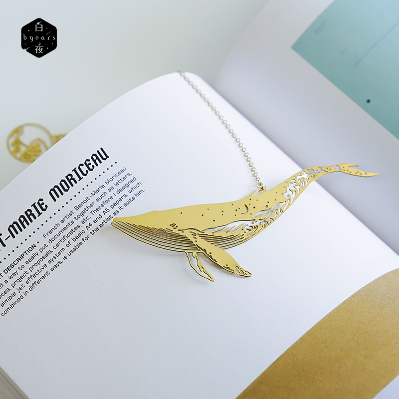 Into The Sea Creative Whale Fish Hollow Out Metal Bookmark Stationery Wedding Gift 40mm*110mm