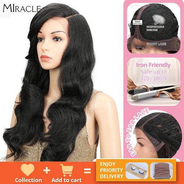Miracle perruque synthétique à forte densité 180%, sans colle, à forte densité, sans colle, pour femmes noires
