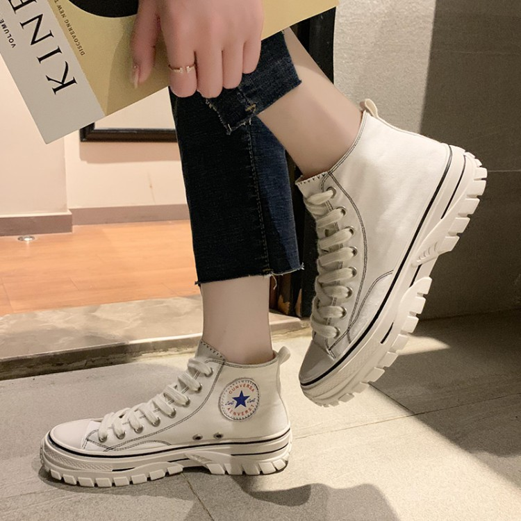 Harajuku Ulzzang High-top Board Shoe Women's Autumn Korean-style Flat Casual Shoes Students Sports Versatile Lace-up White Shoes