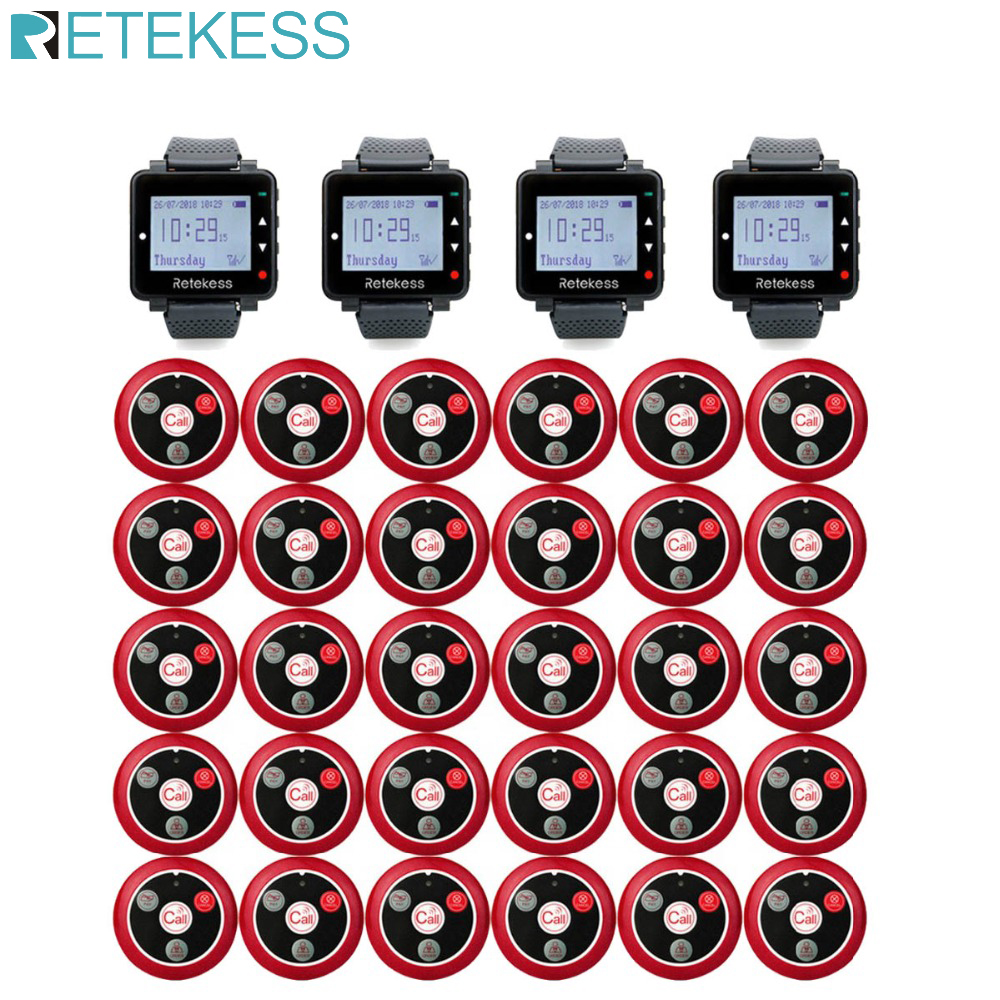 RETEKESS Call Waiter Restaurant Pager Waiter Calling System Wireless Table Bell Pagers 4 Watch Receiver+30 Call Buttons Cafe