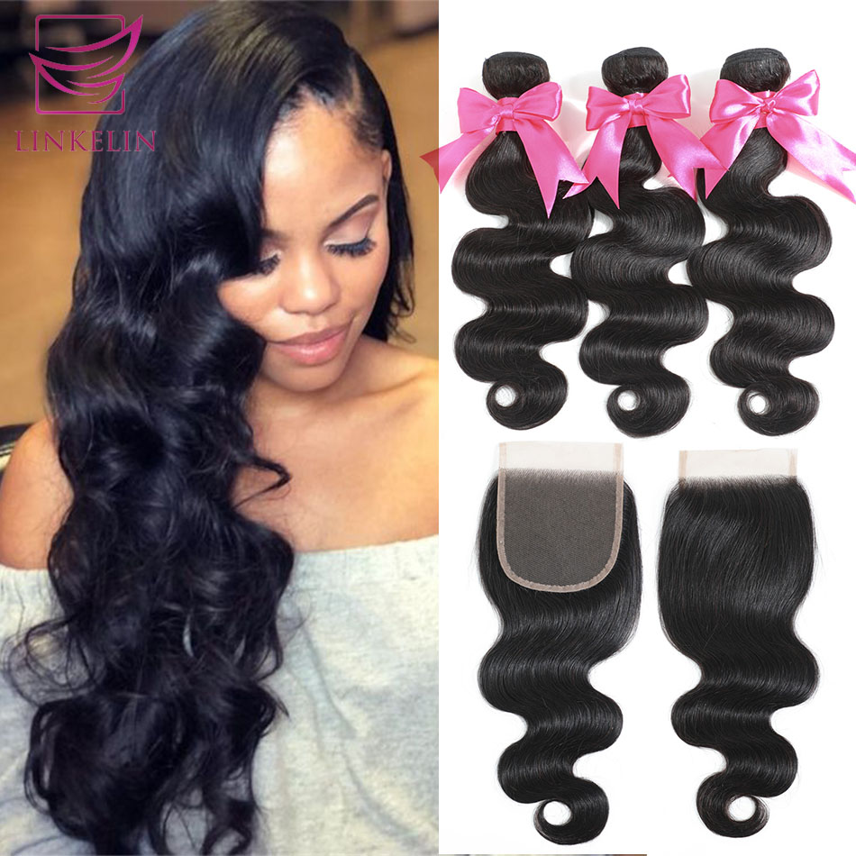 Body Wave Human Hair Bundles With Closure LINKELIN HAIR Bundles With Frontal Brazilian Body Wave Hair Weave Bundles With Closure