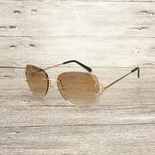 Vintage Rimless Sunglasses Men Diamond Cutting Oval Eyewear Accessories Oculos Shade Nice Eyeglasses for Beaching Driving