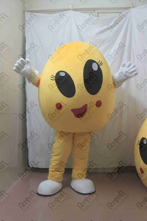 hot sale yellow egg mascot costumes smile face cartoon doll costumes
