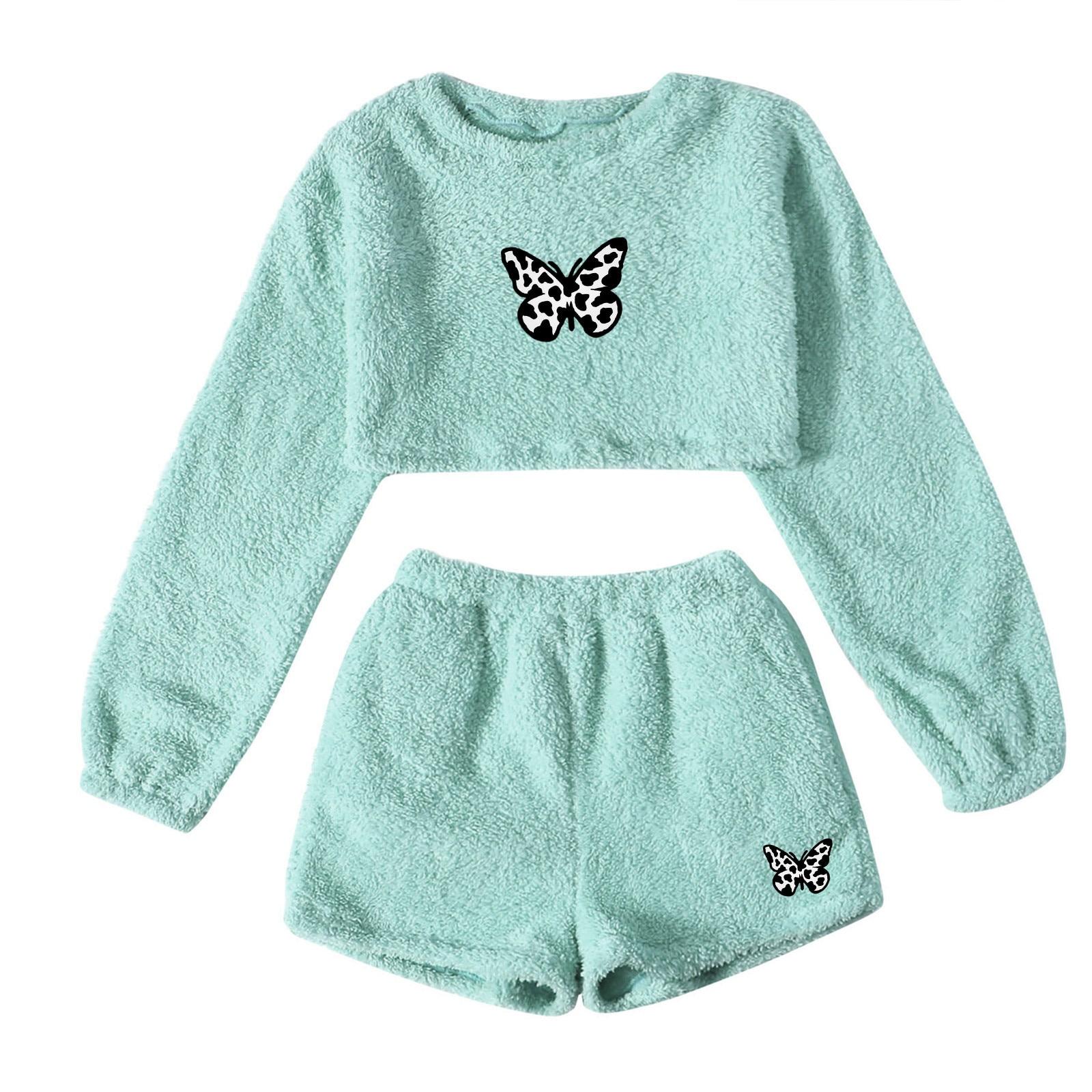 Camisetas con estampado de mariposa para mujer, jersey con cuello redondo, camisetas de Manga larga y pantalones cortos, moda para mujer 2021