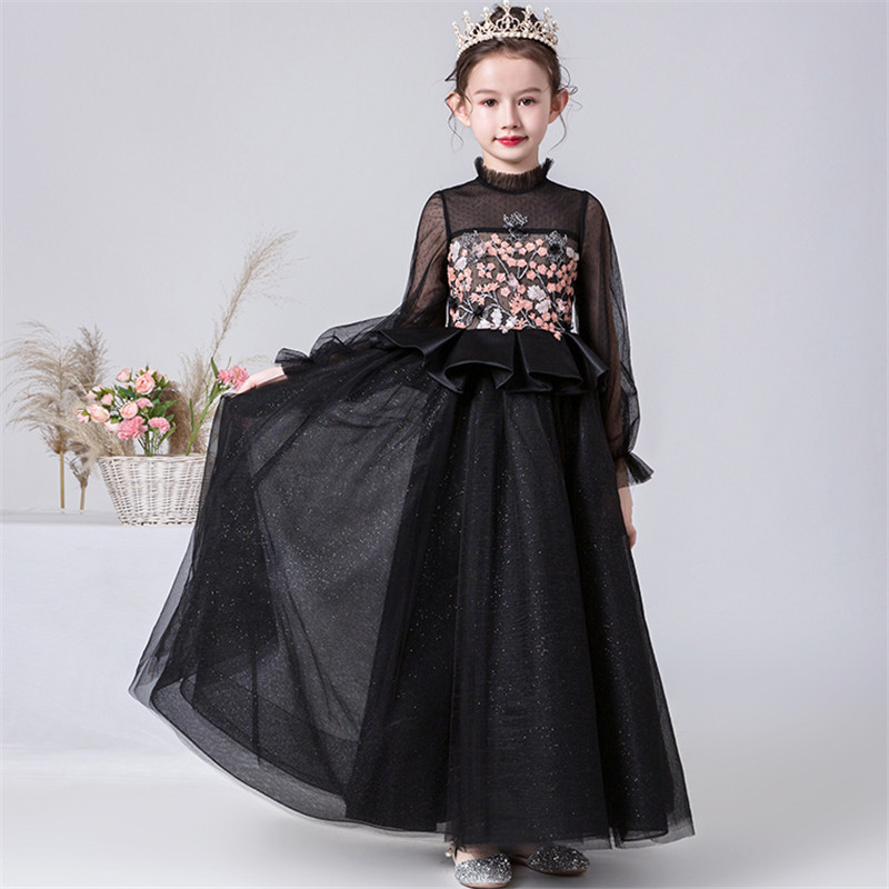 2019Luxury New Girls Children Long Sleeves Model Show Catwalk Evening Parties Princess Dress Kids Teens Host Costumes Dress Wear