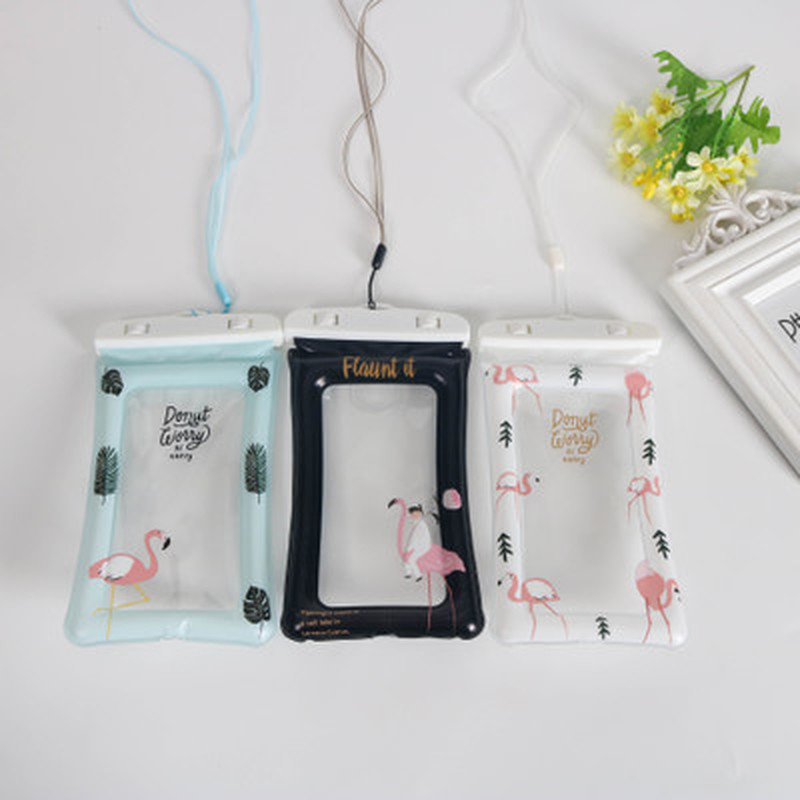 1pc Summer Waterproof Swimming Bags Fingerprint Unlock Cartoon Floating Air Phone Bag Outdoor Diving Beach Water Bag For Phone