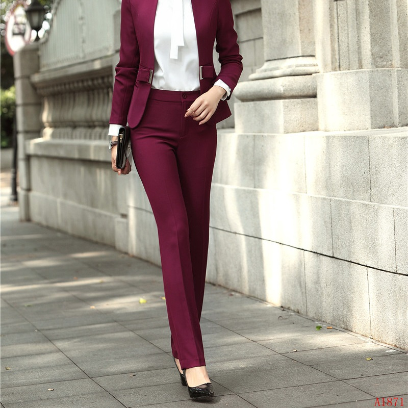 Novelty Wine Slim Hips Formal Uniform Styles Women Business Work Wear Trendy Skinny Leggings Female Trousers Pants Capris