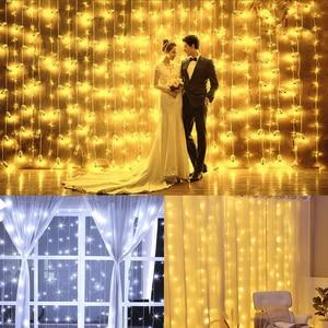 Image 1 - 3×3M Led Curtain Holiday Lights EU 220V Light Decoration Led Fairy Lights Light Curtain Wedding Lights New Year Garland