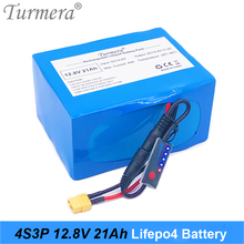 Turmera 32700 Lifepo4 Battery 4S3P 12.8V 21Ah 4S 40A Balanced BMS for Boat Uninterrupted Power Supply 12V + Capacity Indicator