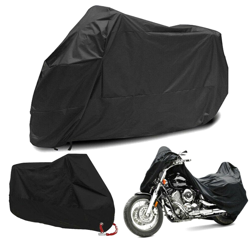 M L XL XXL XXXL 190T Full Black Motorcycle Cover Outdoor UV Protector Waterproof Rain Dustproof Cover Anti-theft With Lock Hole