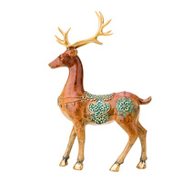 MOZART Sika Deer Decoration Pure Copper Couple Sika Deer Wedding Gift Wine Cabinet Living Room Tv, Standing, about 32cm high