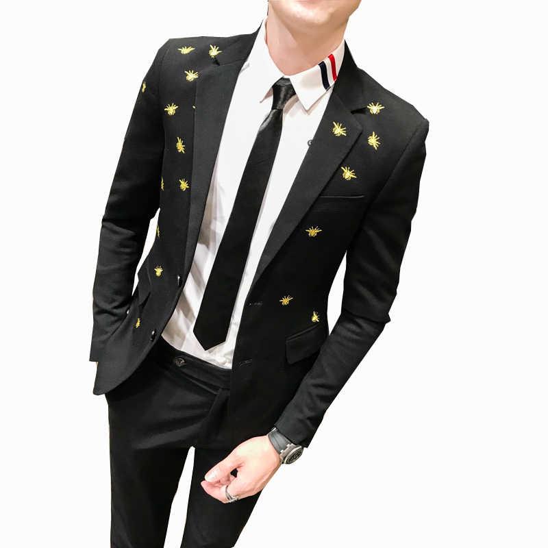 זהב Bee רקמת Mens שחור Slim Fit חליפת גבר גברים חתן חתונה שמלה Terno Masculino