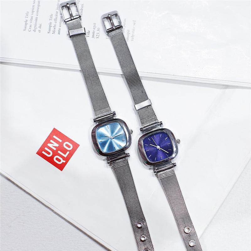 Silver Gold Mesh Strap Women Fashion Watches Unique Square Dial Design Qualities Ladies Wristwatches Simple Woman Quartz Clock