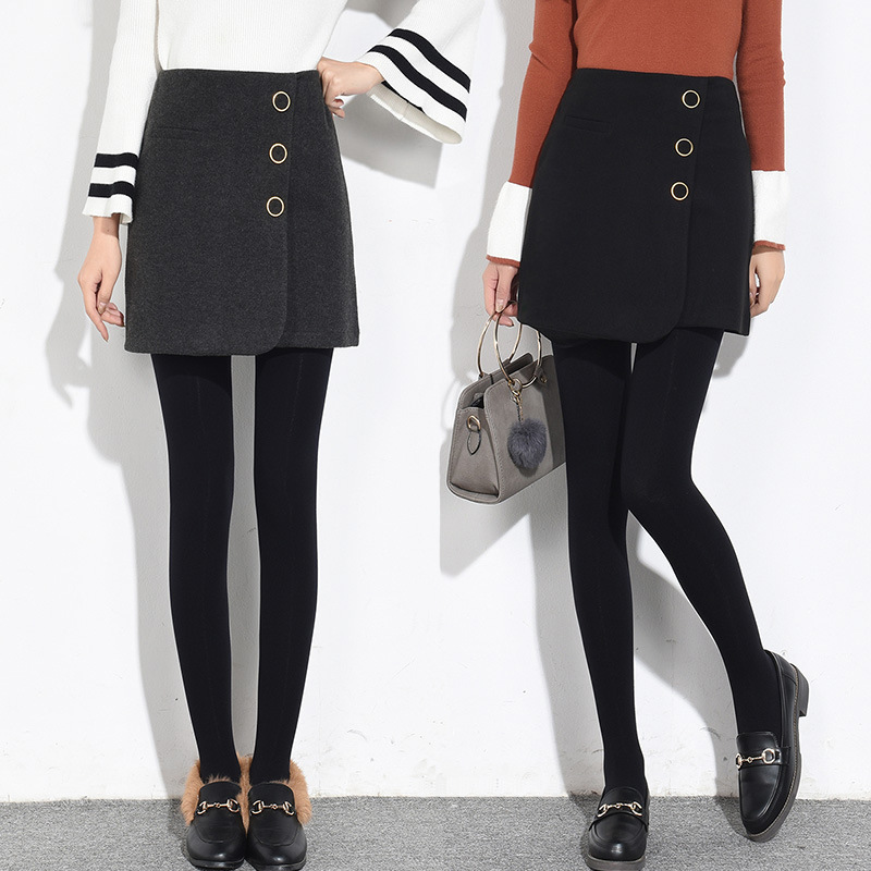 Autumn & Winter New Style High-waisted A- Line Skirt Skirt Korean-style Slim Fit Slimming Thick Woolen Sheath Short Skirt Women'
