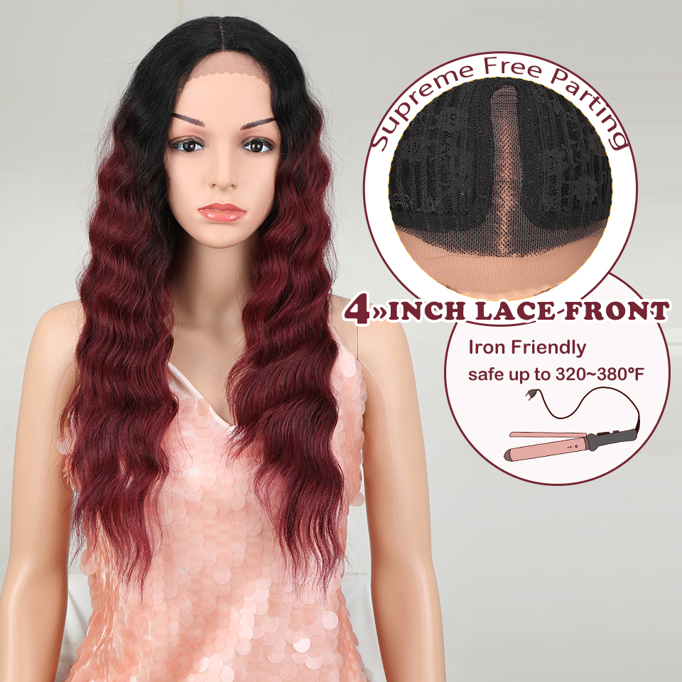 """Magic Wig Synthetic Lace Front Wig 26""""Inch Long Wavy Brown Lace Wigs For Women High Temperature Fiber Middle Part Nature Wig"""