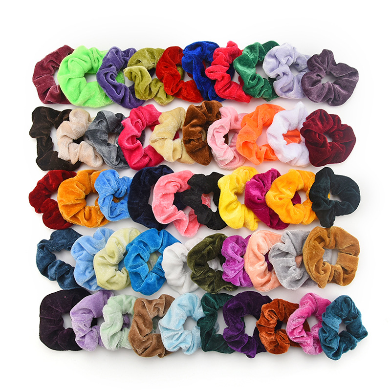 Idg Velvet Scrunchie Women Girls Elastic Hair Rubber Bands Hair Accessories  Solid Color  Girls Headwear Ponytail Holder