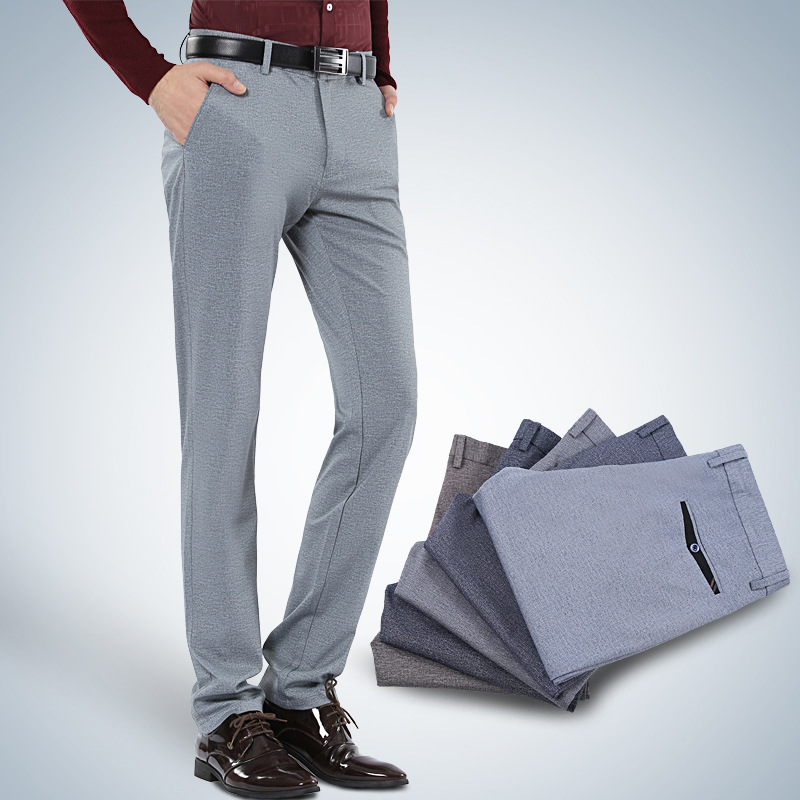 Business Casual Straight-Leg Trousers Versatile Large Elasticity Casual Pants Men's Casual Pants New Style Middle-aged Elasticit