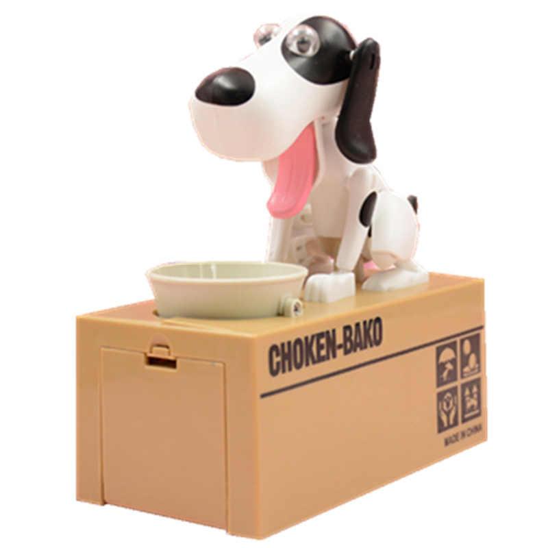 Criativo ganancioso robótico mealheiro cão moeda banco caixa de dinheiro doggy choken bako filhote de cachorro com fome poupança automática pote presente natal