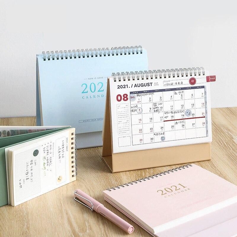 Luxus 2021 Desktop Kalender Tagebuch Buch Wöchentlich Monatlich Zeitplan Tisch Planer Jährlich Agenda Organizer für Schule Büro Liefert