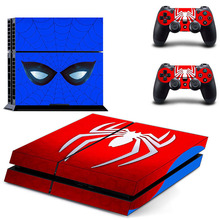 PS 4 Sticker Spider-Man Play station 4 Stickers, PS4 Skin Decal Pegatinas Adesivo For PlayStation 4 console and 2 controller